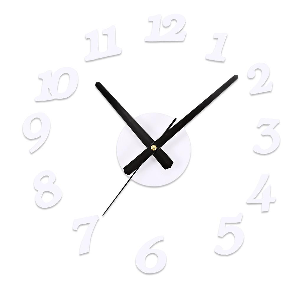 ProductsPro Creatieve 3D Sangtai6168s Mute DIY Digitale Wandklok Decoratieve Acryl Sticker Horloge Modieuze Rood/Wit/Zwart Wandklok - wit