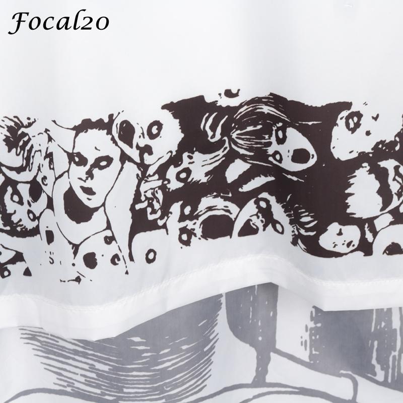 Focal20 Streetwear Junji Itou Manga Print Oversize Frauen